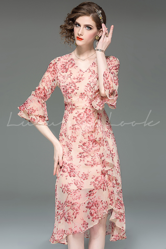 Woman puff sleeve Midi dress sequins glasses Girl pearl Midi dress S-XL 2Color